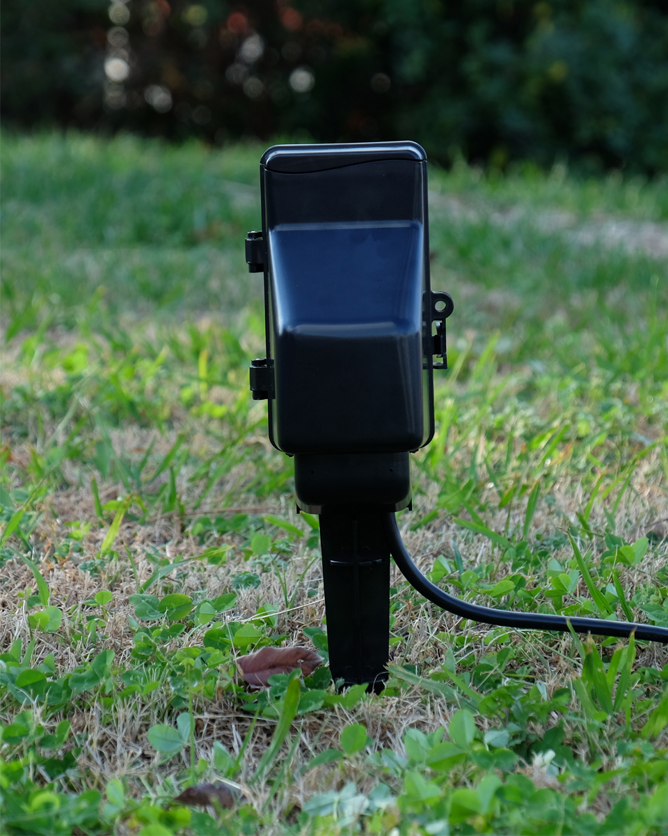 Security Spy Cameras Hidden: Outdoor Stake Electrical Outlet Timer Covert Hidden